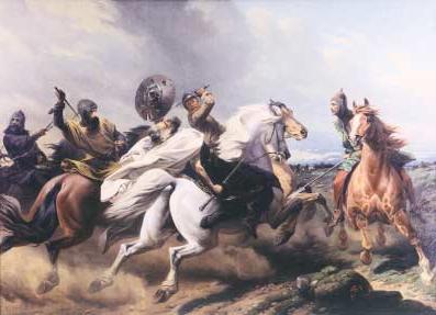 Śmierć Niklota (Niklots Tod) — obraz Teodora Schloepkego w Schwerinie (dawnym Zwierzynie)
